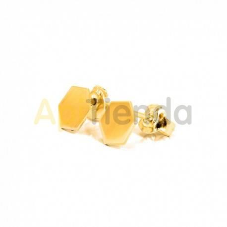 Belleza Pendientes de plata color dorado - hexágonos Pendientes hexagonales de plata de ley 925, con un diseño sofisticado y ele