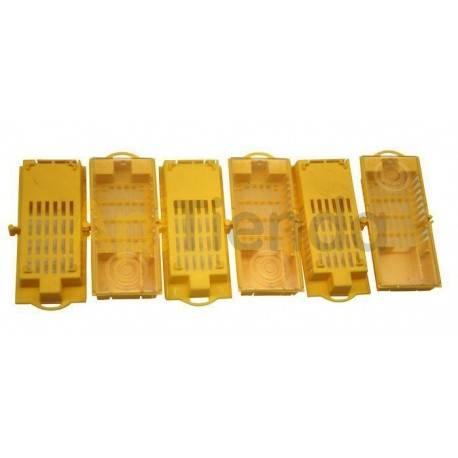 Reinas Jaula de plástico amarilla LS Jaula rectangular que sirve para transporte e introducción de reinas.  Fabricada en plásti