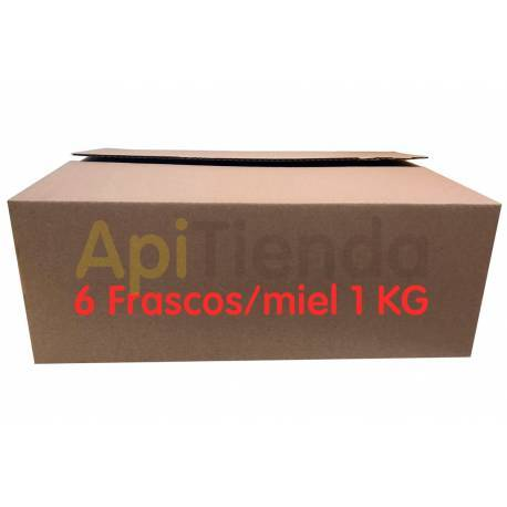 Envases Caja de carton 6 frascos miel 1 KG, Pack 25 uds Descripción (Medidas 295x195x140 mm) Caja de cartón mono canal para gu