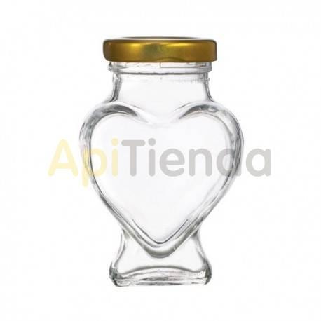 Botes Bote de cristal figura CORAZON, con tapa, 106ml Bote de cristal de 212 ml con tapa incluida Capacidad - 106ML Capacidad