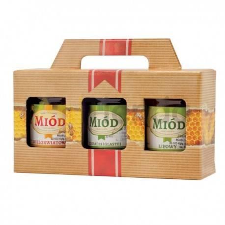Cajas de cartón Caja decorativa para 3 botes 500g (315 ml) con asa - Pack 10 unidades Caja de cartón para 3 botes de 500 gr. con