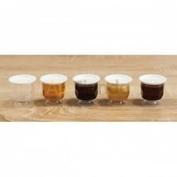 Inicio Recipiente de plástico de 30g con cuchara (10 uds) Recipiente en forma de copa, diseñado para pequeñas muestras de miel,