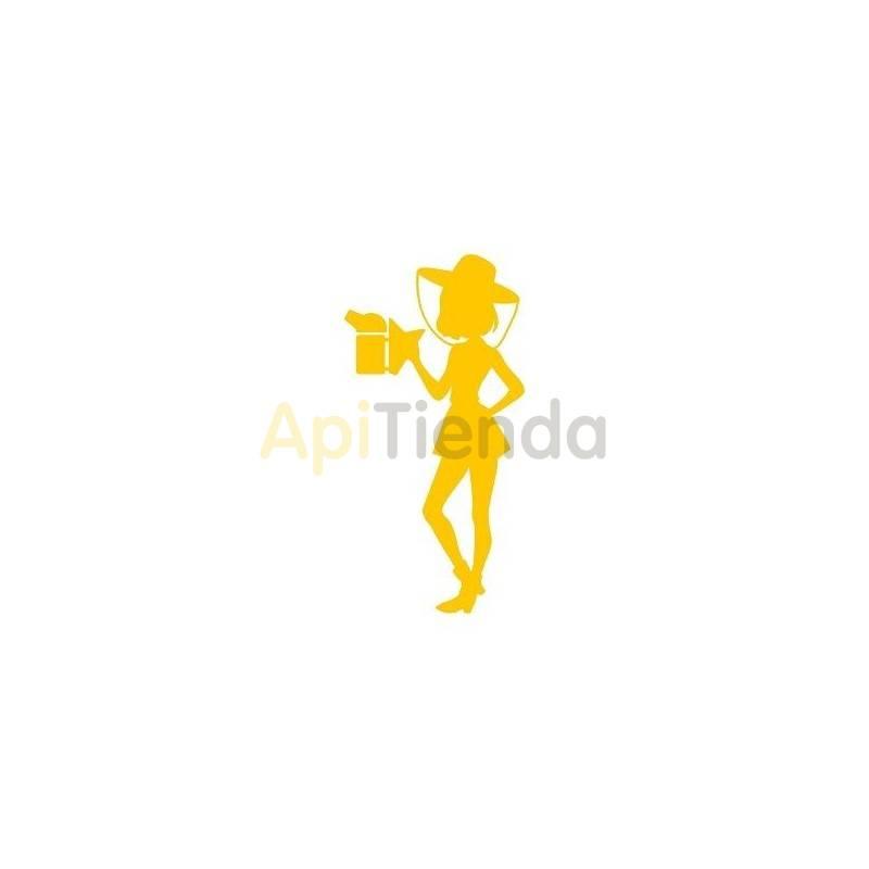 Material  Pegatina amarilla ¡PERSONALIZA TU COCHE! - Pegatina laminada en color amarillo con forma de apicultora, cómoda de usa
