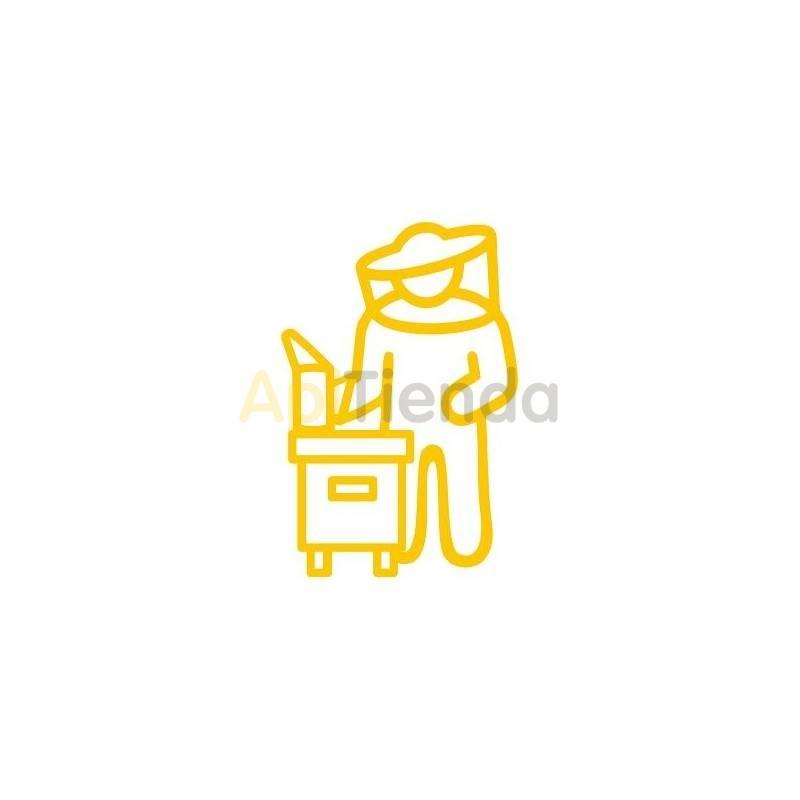 Material  Pegatina amarilla ¡PERSONALIZA TU COCHE! - Pegatina laminada en color amarillo con forma de apicultor, cómoda de usar