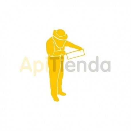 Material  Pegatina amarilla, apicultor mod. 2 ¡PERSONALIZA TU COCHE! - Pegatina laminada en color amarillo con forma de apicult