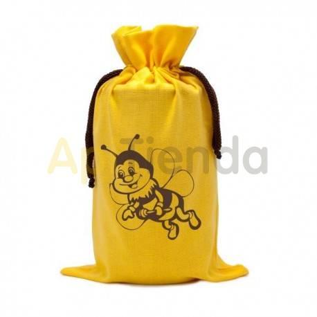 Envases Saco amarillo de algodon Abeja para un bote de miel 1 kg Saco para bote de 1 kg, material algodón Capacidad 1 frasco d