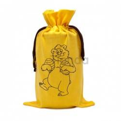 Envases Saco amarillo de algodon Oso para un bote de miel 1 kg Saco para bote de 1 kg, material algodón Capacidad 1 frasco de