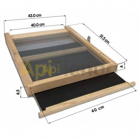 Colmenas de madera Fondo sanitario Langstroth/Dadant Dominguez  Fondo Sanitario. Fabricante Domínguez Rejilla y placa extraíbl