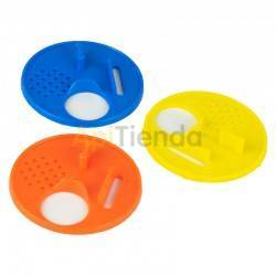 Colmenar Disco piquera Piquera en forma de disco, fabricada en plástico, cuenta con 4 posiciones para la salida y entrada de la
