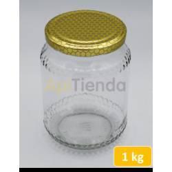 Botes Bote de  cristal 1kg, con tapa- pack 20und DATOS TÉCNICOS - Capacidad: 1000gr de miel - Peso vacío con tapón: 335 gramos