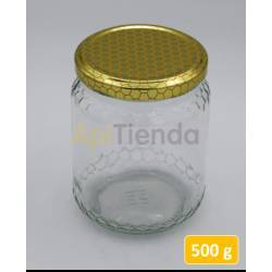 Botes Bote de  cristal 500 gr, con tapa (packs 24 unds) DATOS TÉCNICOS - Capacidad: 500 gr de miel - Peso vacío con tapón: 187