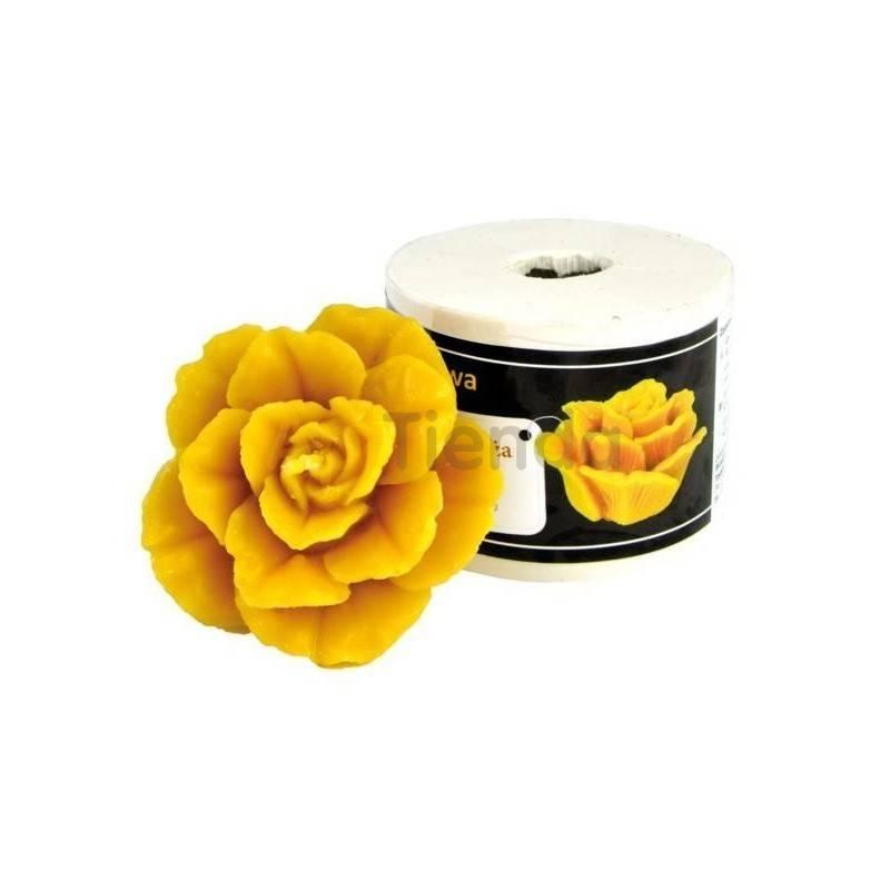 Moldes Molde Rosa,grande Molde de silicona para elaborar las velas de cera de abeja Forma de Rosa Altura 55mm Mecha recomenda