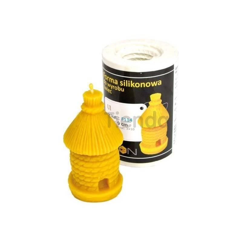 Apicultura Molde Colmena 9 cm Molde de silicona para elaborar las velas de cera de abeja Forma - Colmena Altura 9cm Mecha re