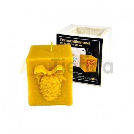 Moldes Molde Cubo con Piña Molde de silicona para elaborar las velas de cera de abeja Forma - Cubo con Piña Altura 75 mm 34