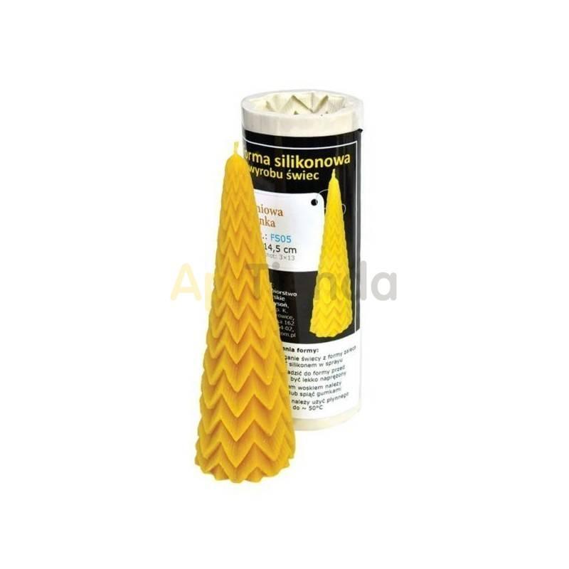 Moldes Molde Abeto Molde de silicona para elaborar las velas de cera de abeja Abeto Altura 145mm Mecha 3×13 Gasto 89g de cer