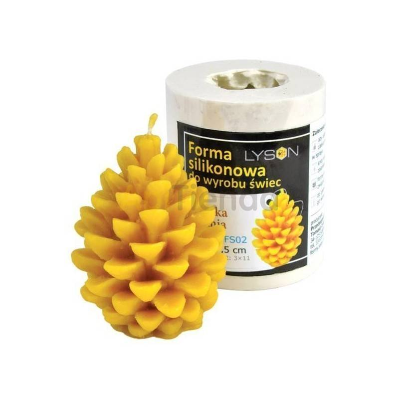 Moldes Molde Piña, mediana Molde de silicona para elaborar las velas de cera de abeja Piña (mediana) Altura 75 mm Mecha 3×13