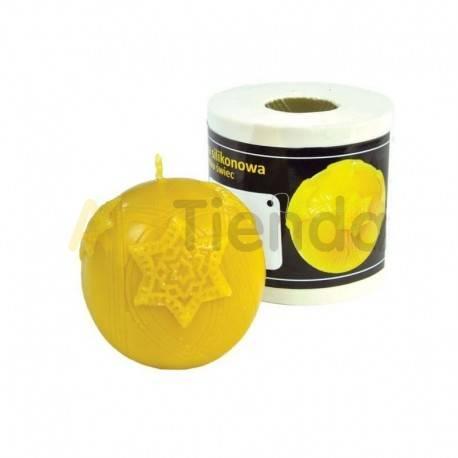 Moldes Molde Bola Navideña Molde de silicona para elaborar las velas de cera de abeja Bola Navideña Altura 70 mm Mecha 3×16