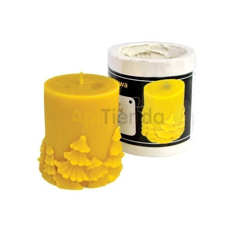 Moldes Molde Cilindro pequeño con Abetos Molde de silicona para elaborar las velas de cera de abeja Cilindro pequeño con abetos