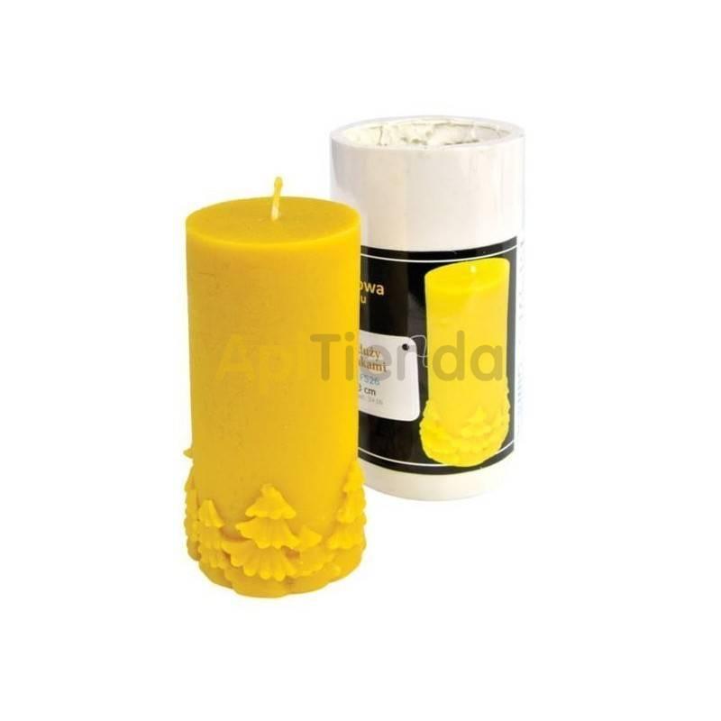 Moldes Molde Cilindro grande con Abetos Molde de silicona para elaborar las velas de cera de abeja Cilindro grande con abetos