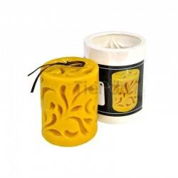 Moldes Molde Cilindro fundido Molde de silicona para elaborar las velas de cera de abeja Cilindro decorado Altura 95 mm Mecha
