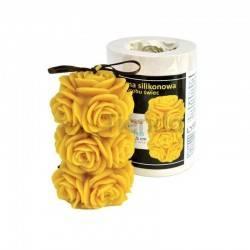 Moldes Molde Rosas Molde de silicona para elaborar las velas de cera de abeja Rosas Altura 115 mm Mecha recomendable 3×16 Ga
